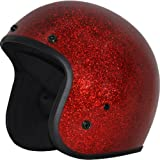 Daytona Metal Flake D.O.T. Approved 3/4 Shell Cruiser Motorcycle Helmet – Red / Large