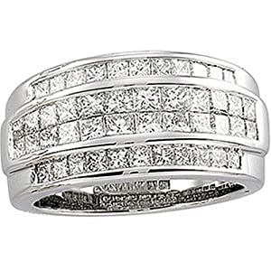 IceCarats Designer Jewelry 14K White Gold Diamond Ring. Size 5