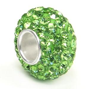 Swaroski Peridot Green Crystal Ball Bead Sterling Silver Charm Fits Pandora Chamilia Biagi Trollbeads European Bracelet
