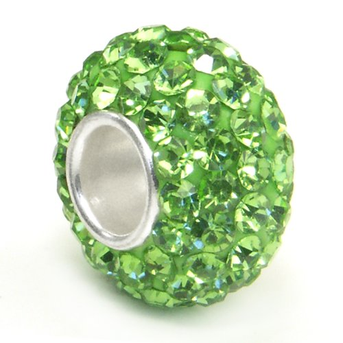 Swarovski Peridot Green Crystal Ball Bead Sterling