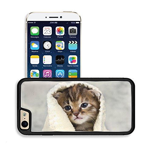 Luxlady Premium Apple iPhone 6 iPhone 6S Aluminium Snap Case Kitten closed in towel warm sleepy small white IMAGE 20130023