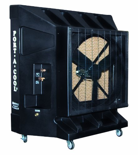 Port-A-Cool PAC2K363S 36-Inch 9600 CFM Portable Evaporative Cooling Unit, 2500 Square Foot Cooling Capacity, Black, 3-Speed