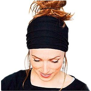 DZT1968® Women Wide Cloth Headband Elastic Hairband For Sports Yoga Bath Make Up Daily (Black)