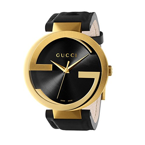 Gucci Interlocking G Collection Unisex Quartz Watch with Black Dial Analogue Display Yellow Gold PVD Case and...