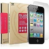 iPhone 4/4S Film Protection - SAVFY® Verre Trempé iPhone 4/4S - [0.3mm] [Dureté 9H] ULTRA RÉSISTANT INDICE [99.9%] Haute transparence ultra résistant Ecran Protecteur Glass Screen Protector pour Apple iPhone 4/4S