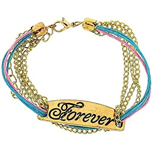 """The Olivia Collection Girls Gold Tone Metal Multi Strand ID Bracelet """"Forever"""""""