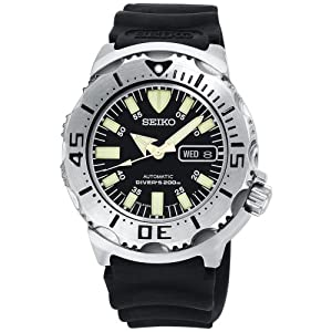 "Seiko Men's SKX779 ""Black Monster"" Automatic Dive Resin Strap Watch"