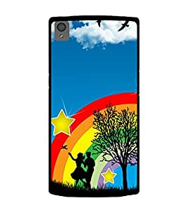 printtech Rainbow Couple Stars Sky Back Case Cover for OnePlus X