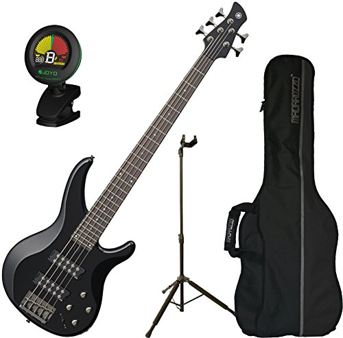 Yamaha TRBX305 BL TRBX-305 Black 5 String Bass Guitar w/ Gig Bag, Stand, and Tuner