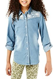 Pure Cotton Floral Embroidered Denim Shirt [T74-1551G-S]