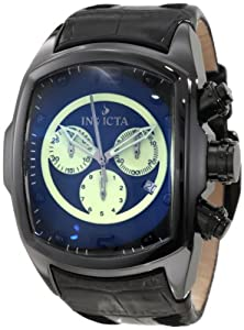 Invicta Men's 10285 Lupah Chronograph Black Dial Black Leather Watch at Sears.com