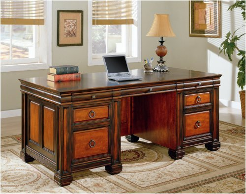 Dark Two Tone Finish Executive Desk