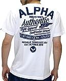 (アルファ インダストリーズ) ALPHA INDUSTRIES INC Tシャツ メンズ ブランド 半袖 ロゴ バックプリント Authentic 2color M ホワイト