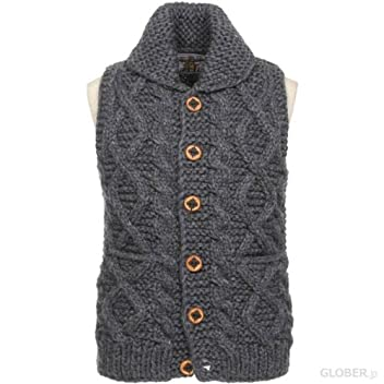 Kanata Cable Button Cowichan Vest 39974: Charcoal