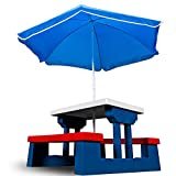 Children Table and Bench Set with Parasol Hole Kids Garden Furniture