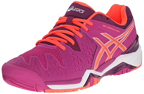 ASICS Women's GEL-Resolution 6 Tennis Shoe, Berry/Flash Coral/Plum, 8.5 M US