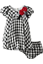 Bonnie Baby Baby Girls' Check Crystal Pleated Dress