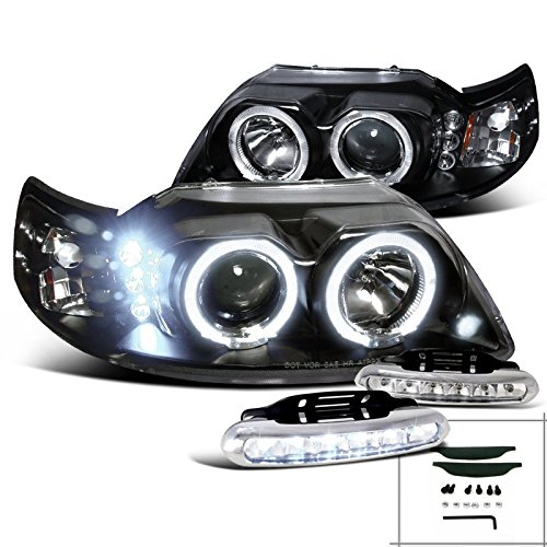 Ford Mustang Black Halo Projector Headlights+Driving LED Fog Lamps Pair (Mustang Cobra Headlights compare prices)