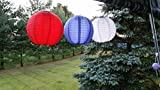 Pack of 3 Solar Powered Waterproof Oriental LED Light Up Chinese Lanterns Red, White & Blue-no Batteries or Plug Needed