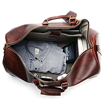 Leathario Genuine Leather Overnight Travel Duffle Bags for Men 2
