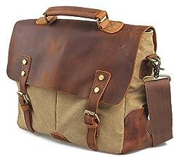 Laptop Messenger Bags, Canvas Leather Vintage Cross Body Shoulder Bag Briefcase Handbag Fit 14 inch Laptop for men women