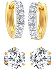 Jewels Galaxy American Diamond Gold Plated Combo Of Hoop And Stud Earrings For Girls And Women