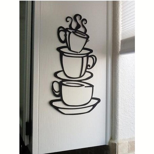 Coffee Tea Cup Swirl Kitchen Wall Sign Decal Vinyl Sticker For Shop Office Home Cafe Hotel