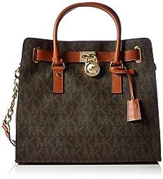 Michael Kors Large Hamilton Womens Handbag Tote Shoulder Bag Brown