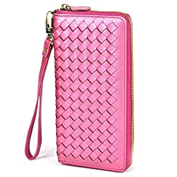 Lackingone RFID Blocking Wallet RFID Wallets For Women Genuine Handmade Leather Purse Secure Safe Woven Clutch Bag Hot Pink