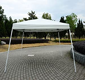 Outsunny 10' X 10' Slant Leg Easy Pop-up Canopy Party Tent Cream