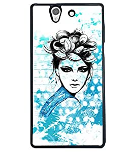 Fuson Cute Girl Back Case Cover for SONY XPERIA Z - D3869