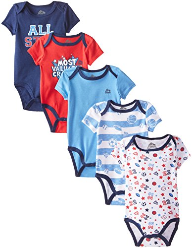 RBX Baby-Boys Newborn 5 Pack Grow with Me Bodysuits - Most Valuable Crawler, Red, 0-3 Months / 3-6 Months