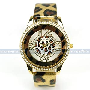 Gorgeous Golden Leopard PU Leather Crystal Lady Vogue Winter Dress Wrist Watch