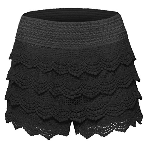 Women's Elastic Waist Tiered Crochet Lace Scallop Hem Casual Mini Shorts (Black Lace Shorts)