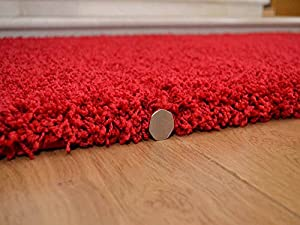 Soft Touch Shaggy Red Thick Luxurious Soft 5cm Dense Pile Rug. Available in 7 Sizes from Rugs Supermarket