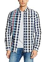 Desigual Camisa Hombre Inicial (Blanco / Azul)