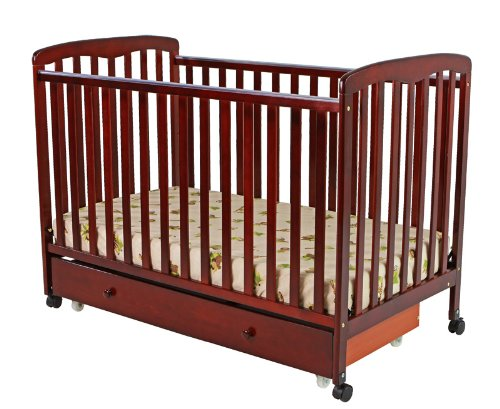 Dream On Me Brianna Convertible Crib With Roll Away Trundle Drawer, Cherry front-3477