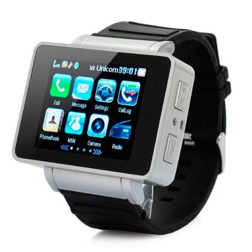 E4worlds Unlocked 1.8'' Inch I3 Watch Touch Cell Mobile Phone GSM Hidden Camera Dv Bluetooth Mp3/4 Java Black