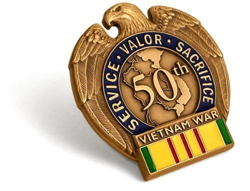Vietnam War 50th Anniversary In-Theater Veteran Commemorative Insignia (Vietnam Service Flag compare prices)