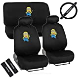 Warner Brothers Licensed Design Minions Seat Covers for CAR SUV VAN + Steering Wheel Cover + Belt Pads + 2 Head Rest