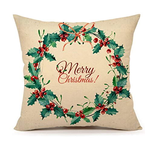 Vintage Merry Christmas Wreath Home Decor Design Throw Pillow Cover Pillow Case 18 x 18 Inch Cotton Linen for Sofa