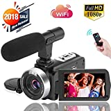 Digital Video Camera WiFi Camcorder Full HD 1080P 30FPS 16X Digital Zoom Vlogging Camera with Microphone 3.00 Rotatable Touch Screen Support Remote Control Time-Lapse Photography (Color: O1)