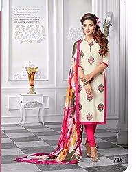 Sanjana Women's Chanderi Cotton White & Pink Striaght Cut Churidaar Suit- Dress Material(SD1555_FreeSize Cotton )
