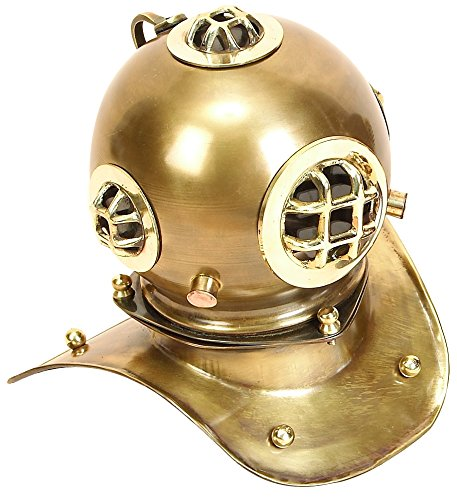 Deco 79 Brass Diving Helmet 8 by 8-Inch