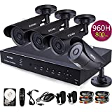 ZOSI 4Channel FULL D1 960H HDMI DVR H.264 Outdoor 800TVL Night Vision Color Cameras CCTV Home Security System Video 500GB HD Hard Drive 3G Android Iphone