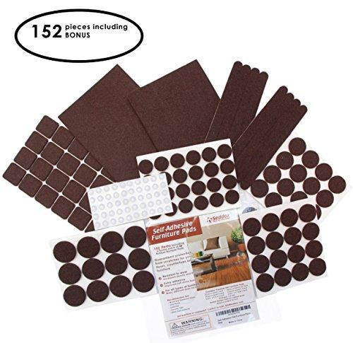 Seddox PREMIUM Felt Furniture Pads Set - 152 pieces with Bonus Rubber Bumper Pads - Self Stick Extra Adhesive Hardwood Floor Protectors, Felt Pads for Furniture Feet Brown