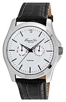 buy Kenneth Cole 10022310 Diamond Marker Multifunction Leather Strap Band White Dial Watch