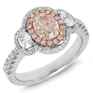 1.75ct 18k Two-tone Rose Gold GIA Certified Oval Shape Natural Fancy Pink Diamond Ring