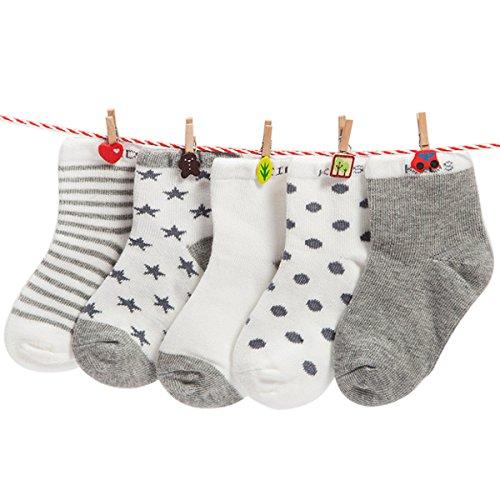 Happy Cherry 1-3 Jahre Baby Kleinkind Jungen 5 Paar Socken Set Weich Baumwolle Süß und Lieblich - Gestreift Gepunktet Sternen Hellgrau