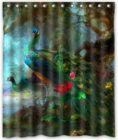 Outlet-Seller Custom Charming Peacocks in the Jungle Waterproof Bathroom Fabric Shower Curtain 60